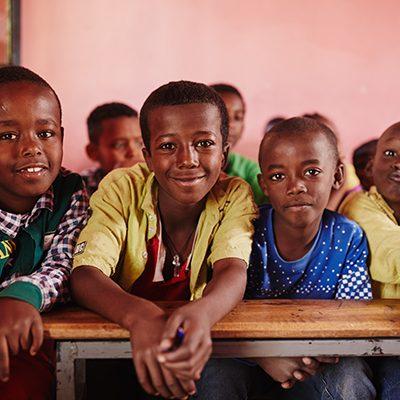 Ethiopische kinderen in klaslokaal