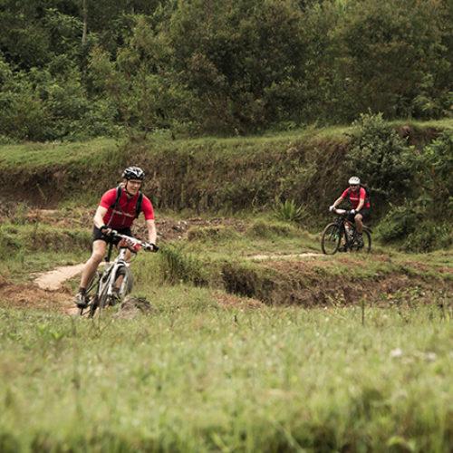 Twee mountainbikers fietsen over een onverhard pad