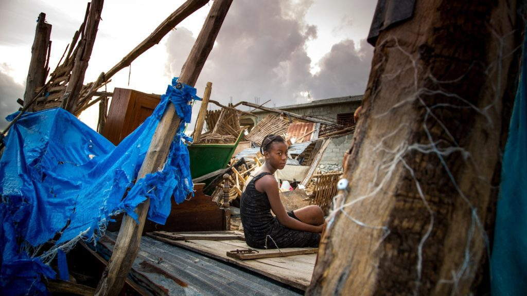 Puinhopen in Haïti na orkaan Matthew in 2016.